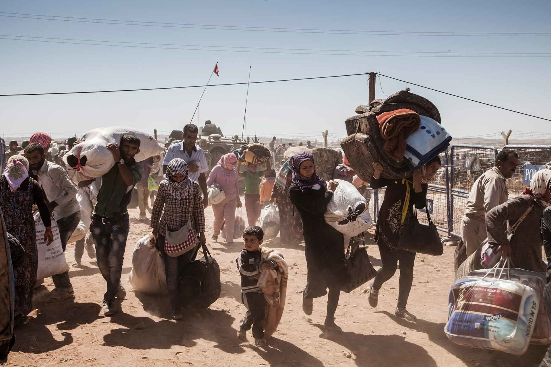 Refugees traveling by foot